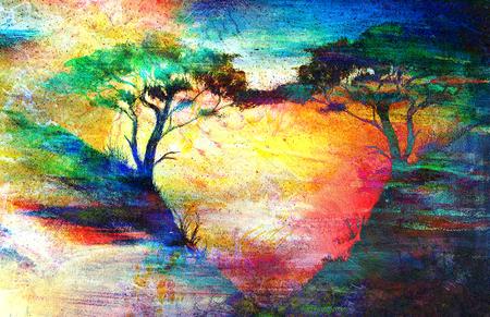 romantyczny: Malowanie zachód słońca, morze i drzewa, tapety krajobraz, kolorowy kolaż.