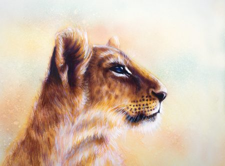 animal head: Little lion cub head. animal painting on vintage paper, abstract color background with spots