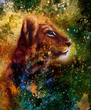 undomesticated cat: Little lion cub head. animal painting, abstract color background with spots Stock Photo