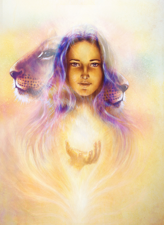 woman goddess holding a sourceful of a white light and Little lion cub head. abstract purple and yellow color background with spots. painting on vintage paper