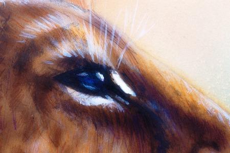 lion cub: lion cub blue eye. animal painting on vintage paper