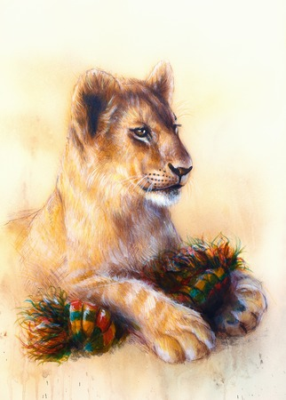 cuddling: Little lion cub cuddling and playing with toy . animal painting on vintage paper, abstract color background with spots