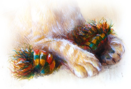 undomesticated cat: Detail  lion cub paws,  playing with toy . animal painting on vintage paper, abstract color background with spots.