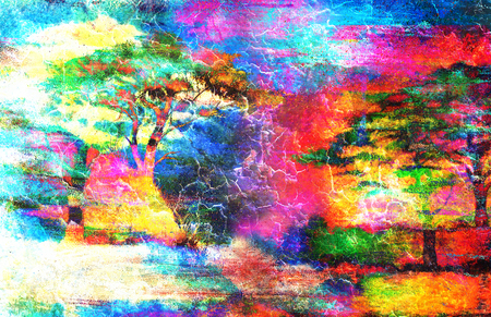 crackle: Painting sunset, sea and tree, wallpaper landscape, color collage crackle effect. Stock Photo