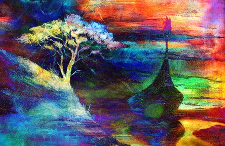 Viking Boat and tree on the beach, Boat with wood dragon.painting collage wallpaper landscape. Stock Photo