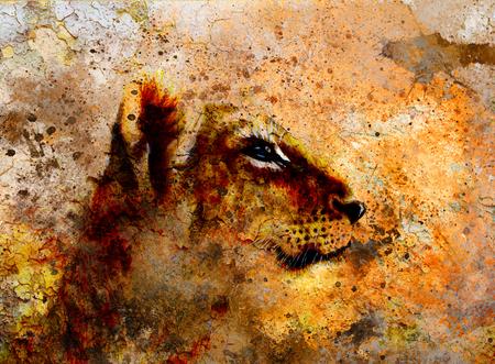 lion dessin: Petite tête d'un lionceau. peinture animalière sur papier vintage, abstrait de la couleur avec des taches et les craquements
