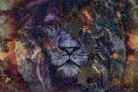 Löwe Gesicht auf Weinlesepapiercollage, abstrakten Hintergrund zeichnen. Augenkontakt.