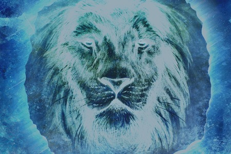 peaceful: beautiful  painting of a lion head with a majesticaly peaceful expression