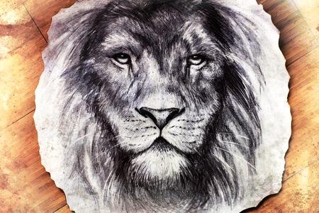 lion dessin: Dessin d'une tête de lion avec une expression pacifique majestueusement sur bois abstrait. lentilles de contact. Banque d'images