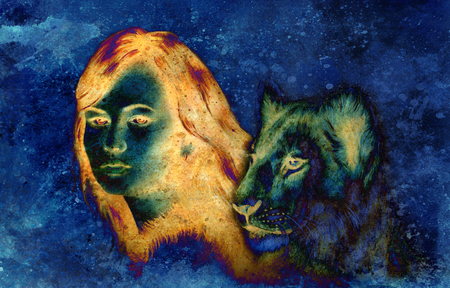 cat goddess: Painting collage Young woman and lion cub. eye contact