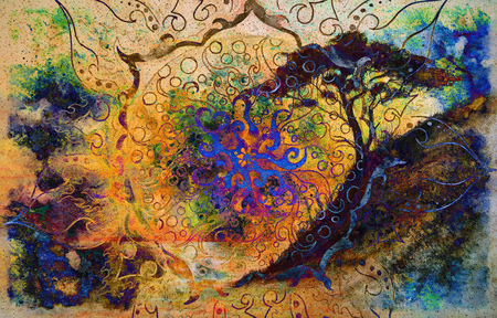 Painting sunset, sea and trees, wallpaper landscape and ornamental mandala. Oriental background collage.