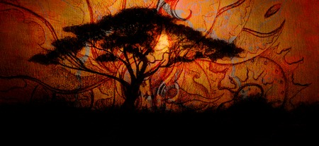 artistic flower: Painting tree and sunset, wallpaper landscape and ornamental structure. Oriental background collage.