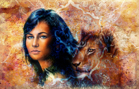 awakening: Young woman and lion cub. Woman Portrait with long dark hair and blue eye, color painting with oriental ornamental mandala. eye contact.