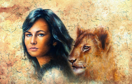 dark hair: Young woman portrait, with long dark hair and blue eye and lion cub, eye contact,  color painting with crackle background. Stock Photo
