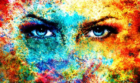 goddess: Blue goddess women eye, multicolor background with oriental mandala ornament. eye contact Stock Photo