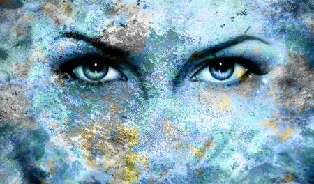 Blue goddess women eye, multicolor blue background. eye contact