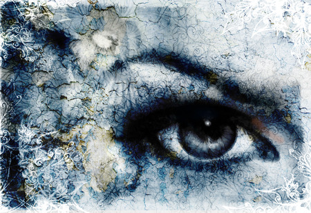 enchantress: women eye beaming and bird, blue color painting collage, with ornament Stock Photo