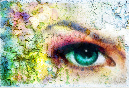 beautiful green women eye beaming, color rust effect, painting collage, violet makeup