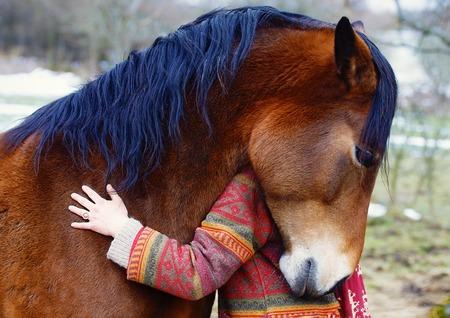 Portret vrouw en paard in de buitenlucht. Vrouw knuffelen een paard