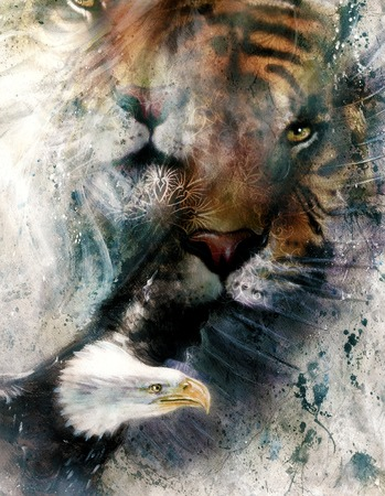 marvelous: painting of eagle and tiger,  abstract background, color with spot structures. Stock Photo
