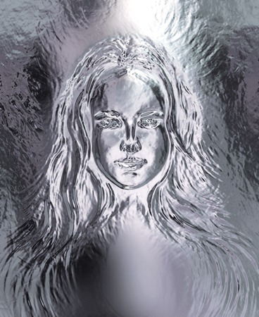 powerful aura: Woman goddess. Young attractive woman coated in metallic  paint  efect Stock Photo