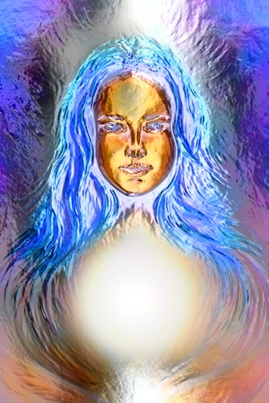 emanating: Woman goddess. Young attractive woman coated in metallic  paint  efect Stock Photo