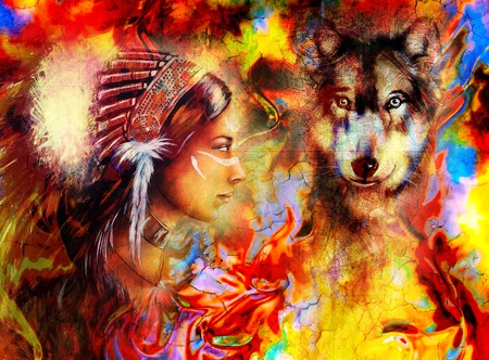 young indian woman wearing  with  wolf and feather headdress and abstract color background Archivio Fotografico