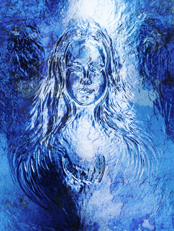 coated: Woman goddess. Young attractive woman coated in metallic silver paint. Crackle effect