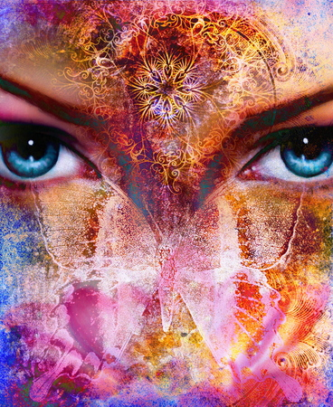 beauty of nature: illustration of a butterfly and woman eye , mixed medium, abstract color background.