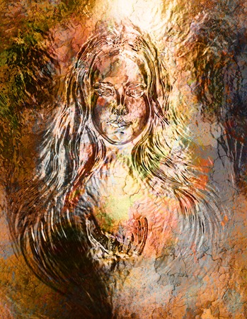 gold woman: Woman goddess. Young  woman coated in metallic gold  paint. Crackle effect