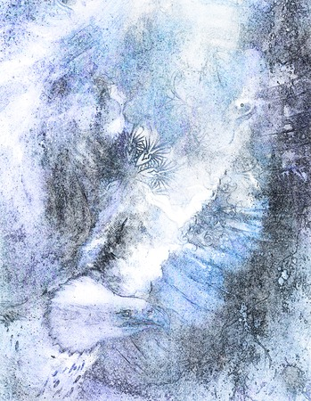 marvelous: beautiful painting of eagle on an abstract background, color with spot structures.
