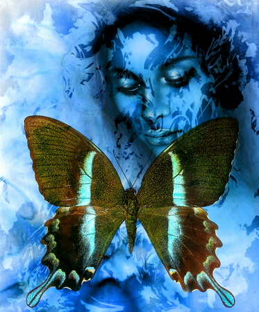 awakening: Goodnes woman and  color butterfly, mixed medium, abstract color background