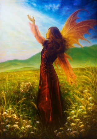 wild meadow: painting fairy woman in a historic dress standing in rays of sunlight amids a wild meadow Color effect