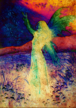 spirit medium: painting fairy woman in a historic dress standing in rays of sunlight amids a wild meadow Color effect