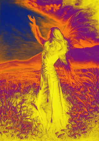 enchantress: painting fairy woman in a historic dress standing in rays of sunlight amids a wild meadow Color effect