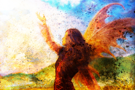spirit medium: painting fairy woman in a historic dress standing in rays of sunlight amids a wild meadow