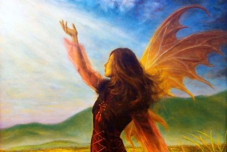 wild meadow: painting fairy woman in a historic dress standing in rays of sunlight amids a wild meadow