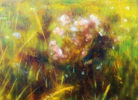 wild meadow: painting on canvas of a vibrant spring meadow full of wild colorful flowers in the bright sunny day.