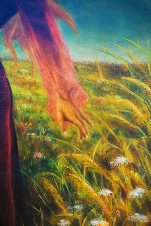 spirit medium: painting on canvas of a vibrant spring meadow full of wild colorful flowers in the bright sunny day. And detail fairy woman hand.