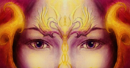 eye contact: Mystic woman face with gold ornamental tattoo and two phoenix birds, purple background. eye contact