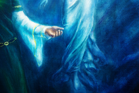 spiritual woman: mystic woman hand in historical dress with ornament and angel hand. Spiritual concept . Painting on canvas with abstract blue background