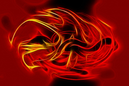 dynamic heat black: Beautiful abstract fiery circle on a red color background Stock Photo