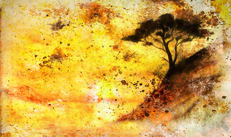 extreme terrain: Painting sunset, sea and tree, wallpaper landscape, color collage. and abstract grunge background with spots