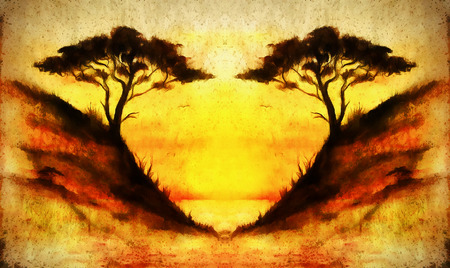 flower fields: Painting sunset, sea and tree, wallpaper landscape, color collage. and abstract grunge background with spots
