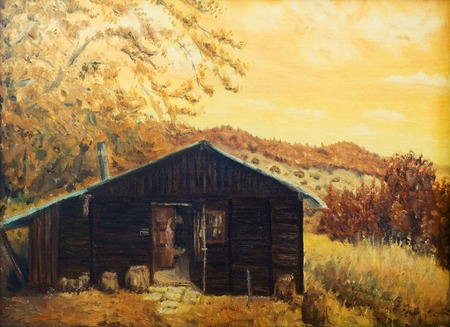 plight: wooden cabin in a forest in the mountains, painting sepia effect, retro effect.