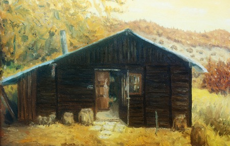 plight: wooden cabin in a forest in the mountains, painting sepia effect. Stock Photo