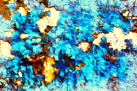 Color abstract background and desert crackle blue color.