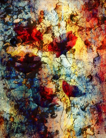 crackle: Painting poppy on color background. Red flower on abstract color background with desert crackle structure