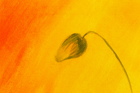 airiness: poppy painting on orange background. Flower on abstract color background. Stock Photo