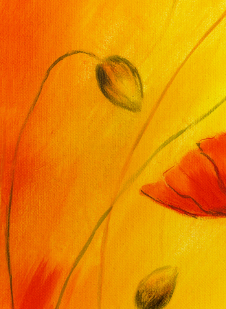 airiness: poppy painting on orange background. Poppy  Flower on abstract color background.